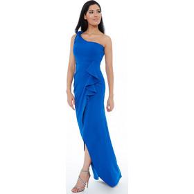 e9e8a5f19e2 Μπλε ηλεκτρίκ maxi φόρεμα με έναν ώμο