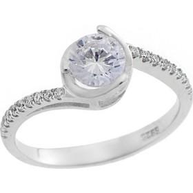 Μονόπετρο Δαχτυλίδι Ασημένιο 925 σε Λευκό Χρώμα με Ζιργκόν 7006847554e