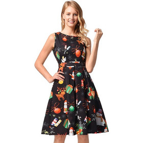 3f77d0ea7aa Woman Christmas Elk Bells Pattern Sleeveless Round Neck Tank Dress, Size: L  SK638541