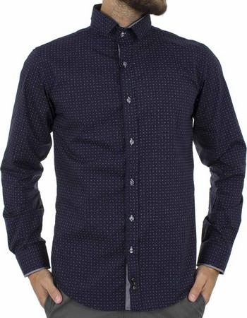 b3731c559b33 Ανδρικό Μακρυμάνικο Πουκάμισο Slim Fit CND Shirts 3700-12 σκούρο Μπλε