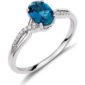 Δαχτυλίδι από λευκό χρυσό 18 καρατίων με οβάλ london blue τοπάζι και  διαμάντια στο πλάι. 6db737b80b7