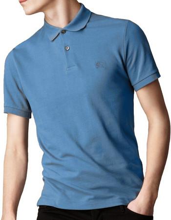 281cf7293a94 Burberry Ανδρική Πόλο Polo Μπλούζα Brit με κουμπιά σε Γαλάζιο χρώμα, Bright  Dusty Thistle Blue