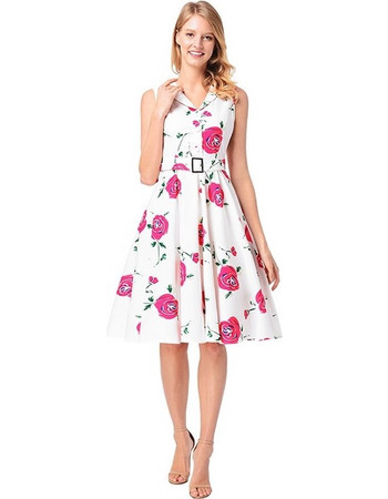 New Product Red Rose Pattern White Retro Dress 550ac9e2f56