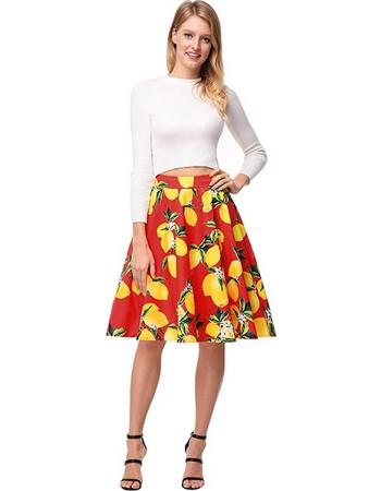 2018 New Product European and American Style Print Retro Lemon Pattern  Skirt Half-body Skirt f9b4a9043ef