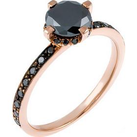 Μονόπετρο δαχτυλίδι από ροζ χρυσό Κ18 με black diamonds DA1212-122 682cd445e7b