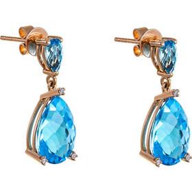Σκουλαρίκια από ροζ χρυσό 18 καρατίων με μπλε τοπάζι σε σχήμα δάκρυ και  μικρά διαμάντια στα a437f47bb42