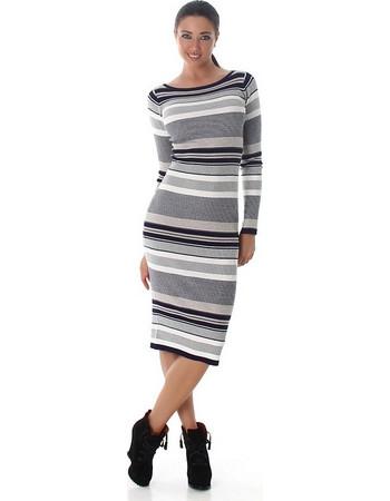61172 LX Μίντι πλεκτό φόρεμα ριγέ - Γκρί 480438801d1