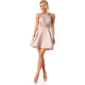 86e42296938c 9279 RO Εντυπωσιακό μίνι φόρεμα με δαντέλα - Μπεζ Ροζ