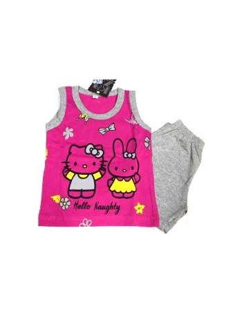 Πυτζάμα παιδική Hello Kitty της Kaza αμάνικη βαμβακερή a75439decb1
