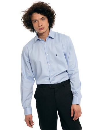 The Bostonians ανδρικό πουκάμισο μονόχρωμο με μικρό γιακά και λογότυπο -  AMP1219 - Γαλάζιο a92d6af004e