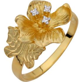 Χρυσό δαχτυλίδι χειροποίητο Κ14 σε σχέδιο λουλούδι με πέτρες ζιργκόν  AD14-S8707G1 64bb4fb4023