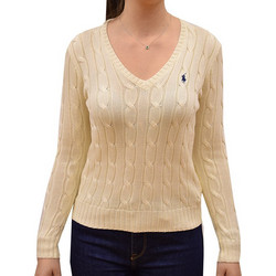 eac6c24057d9 POLO RALPH LAUREN WOMAN CABLE V-NECK SWEATER CREAM