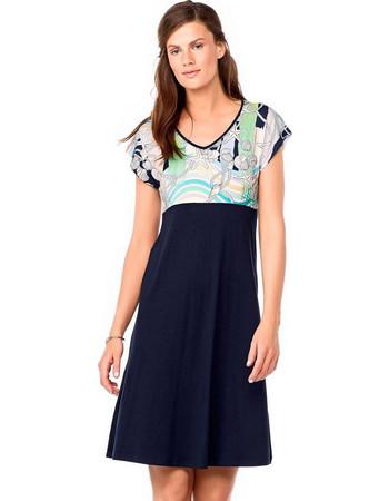 87a1394f4e27 Vamp κοντομάνικο μπλε βισκόζ φόρεμα σε Α γραμμή 6936