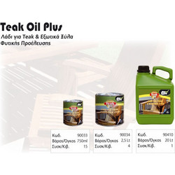 ΛΑΔΙ ΓΙΑ ΞΥΛΟ TEAK NEW LINE TEAK OIL PLUS 750ml - 90033