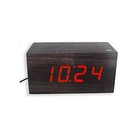 Επιτραπέζιο ξύλινο ψηφιακό ρολόι - ξυπνητήρι - θερμόμετρο LED OEM 4523c6097f8