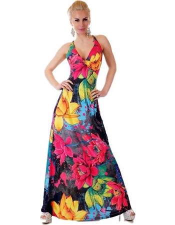 6d175c14d08d 30886 SD Μάξι φόρεμα με έντονα χρώματα - ρόζ. SD Fashion