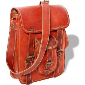 vidaXL Τσάντα Ώμου Καφέ από Γνήσιο Δέρμα για Laptop 7 Ιντσών df613325d9f