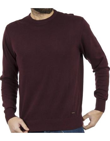 d9b5a3d3dc54 Ανδρικό Πλεκτή Μπλούζα Round Neck Sweater DOUBLE KNIT-19 Μπορντό
