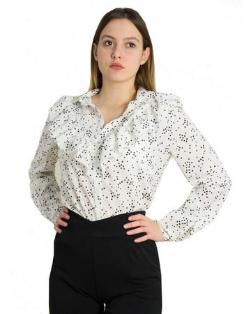 ada6634e3c38 Γυναικείο λευκό πουά πουκάμισο βολάν Coocu 39679C