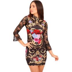 e01897adcfb0 Μαύρο Φλοράλ Mini Φόρεμα με Δαντέλα στο Μανίκι Μαύρο Silia D