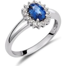 Δαχτυλίδι ροζέτα από λευκό χρυσό 18 καρατίων με μπλε ζαφείρι στο κέντρο και  διαμάντια περιμετρικά. ed5b351b920