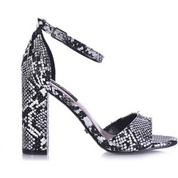 4c5078400e Πέδιλα μαύρα φίδι δερματίνη με χοντρό τακούνι 382105bl. Tsoukalas Shoes