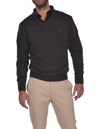 d36498369ec5 Dur ανδρική πλεκτη μπλούζα μονόχρωμη με λαιμόκοψη V - 30230115 - Ανθρακί