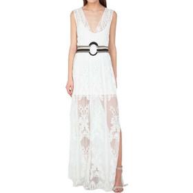 4970a5ceede Maxi Φόρεμα Από Τούλι Με Κέντημα Toi & Moi 50-3308-18 Λευκό toimoi