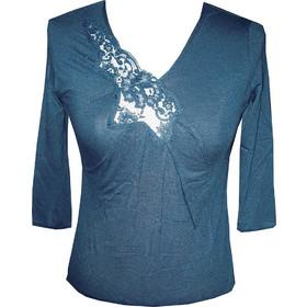aa4c1b777b35 Moretta μπλε-ραφ βαμβακερή filo scozia μακρυμάνικη V μπλούζα με δαντέλα  κωδικός 7000-5