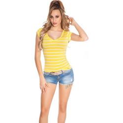 564bfcc48498 41854 FS Ριγέ κοντομάνικη μπλούζα με δαντέλα στη πλάτη - κίτρινη