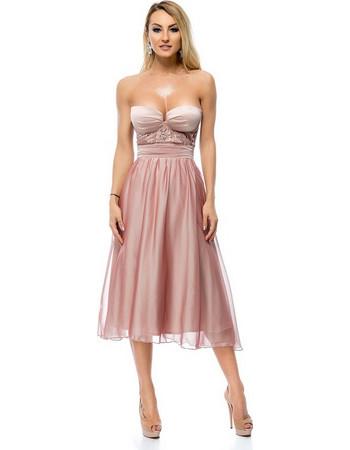 9282 RO Μίντι στράπλες πριγκιπικό φόρεμα - Ροζ Μπέζ. Ro Fashion 3f041c8dd56