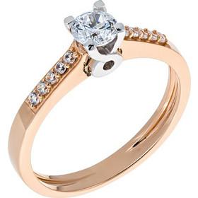 Μονόπετρο δαχτυλίδι από ροζ χρυσό 14 καρατίων με λευκόχρυσο καστόνι και  ζιρκόν. PS20072 73211c8abeb