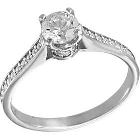 Δαχτυλίδι μονόπετρο λευκόχρυσο 14 καράτια με λευκά ζιργκόν swarovski(R) 21bfb5a1854