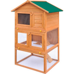 d605af3596a0 vidaXL Κλουβί Κουνελιών Σπίτι Μικρών Ζώων Εξωτ. Χώρου 3 Επίπεδα Ξύλινο