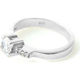 Aetoma Ασημένιο μονόπετρο δαχτυλίδι συν τρία λευκά ζιργκόν 6c415434c59