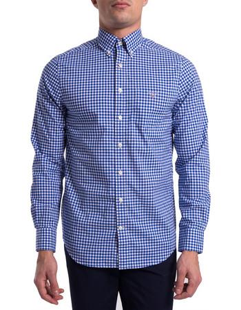 Gant ανδρικό καρό πουκάμισο Broadcloth Ginham Regular - 3046700 - Μπλε e466f154348
