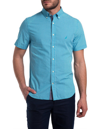 Ανδρικό καρό πουκάμισο με κοντά μανίκια Nautica - 81935W - Βεραμάν 4843ee223e3