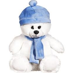Αρκουδάκι Λευκό Με Σκουφάκι και Κασκόλ Λούτρινο 15cm 4d2a98ae8b1