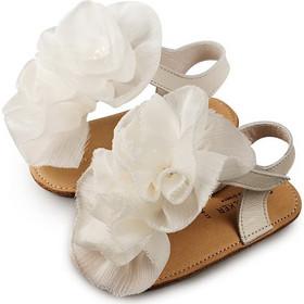 3730839a529 Δερμάτινο πέδιλο με chiffon λουλούδια Babywalker - Εκρού