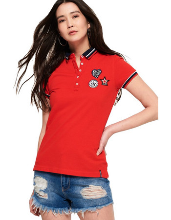 SUPERDRY PACIFIC BADGE POLO ΜΠΛΟΥΖΑ ΓΥΝΑΙΚΕΙΑ G60009TQ-54I (54I FLARE RED) 9a27e51dcd1