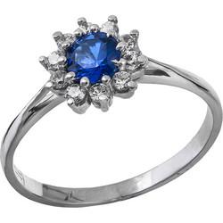 Λευκόχρυσο δαχτυλίδι Κ14 ροζέτα με μπλε πέτρα 029019 029019 Χρυσός 14  Καράτια e9acd37559c