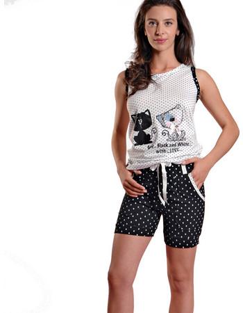 Ogham γυναικεία καλοκαιρινή πυτζάμα άσπρη πουά αμάνικη μπλούζα με γάτες και  μαύρο πουά σορτς 6525 6e83a1dbb9e