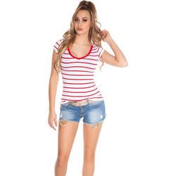 51328958bc79 41855 FS Ριγέ κοντομάνικη μπλούζα με δαντέλα στη πλάτη - κόκκινη