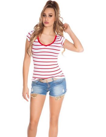 eca53d56a1f6 41855 FS Ριγέ κοντομάνικη μπλούζα με δαντέλα στη πλάτη - κόκκινη