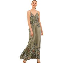 Μάξι φόρεμα με λεπτομέρεια από δαντέλα - Χακί 53b9a75fbc5