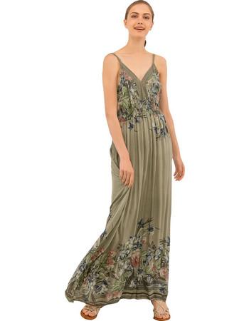 Μάξι φόρεμα με λεπτομέρεια από δαντέλα - Χακί ca27746dd7e