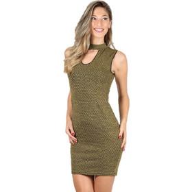 ef8a1f0fc3a3 Φόρεμα εφαρμοστό με άνοιγμα στην πλάτη Μουσταρδί - Μουσταρδί