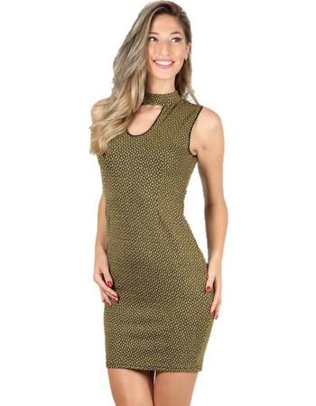 Φόρεμα εφαρμοστό με άνοιγμα στην πλάτη Μουσταρδί - Μουσταρδί 200eacf745e