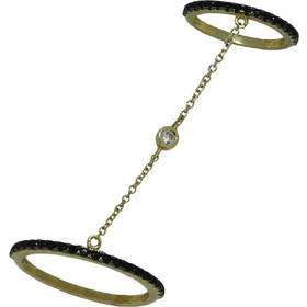 Γυναικείο Δαχτυλίδι διπλό 14Κ Κίτρινο Χρυσό με αλυσίδα και με λευκά και  μαύρα Ζιργκόν 01cf10505dd