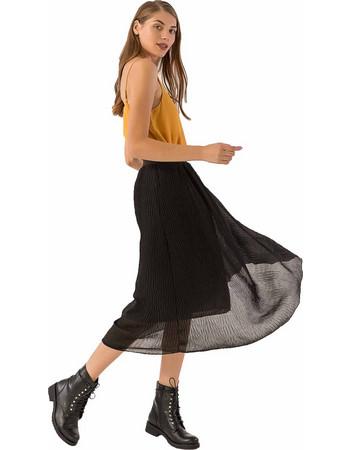 4f409db15fb6 Midi φούστα από λεπτό ύφασμα με πτυχώσεις και λάστιχο στη μέση - Μαύρο